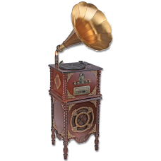 Граммофон воспроизводит CD, радио, пластинки